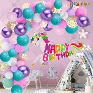 07P - Unicorn Birthday Party Decoration Combo - Set of 66