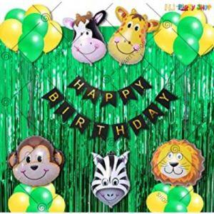 A1 - Jungle Theme Happy Birthday Decoration Combo - Set Of 50