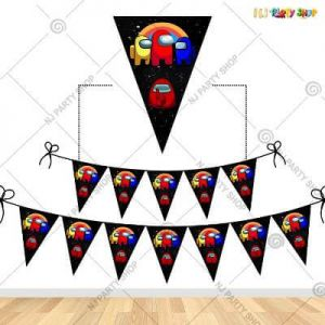 Among Us Theme Happy Birthday Flag Banner