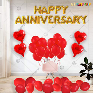 07L -  Red & Golden Happy Anniversary Decoration Combo Kit - Set of 40 Pcs