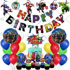 Avengers Theme Birthday Decoration Combo - Set of 62