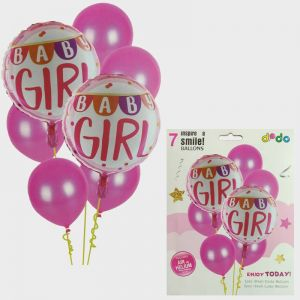 Baby Girl Foil Set With Rubber Balloons - Set of 7
