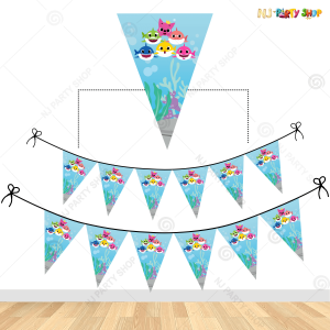 Baby Shark Theme Flag Banner Decoration