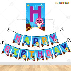 Baby Shark Theme Happy Birthday Banner Decoration