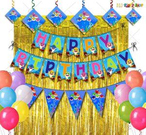 Baby Shark Theme Happy Birthday Decoration Combo - Set of 52