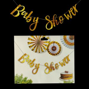 Baby Shower Banner - Gold