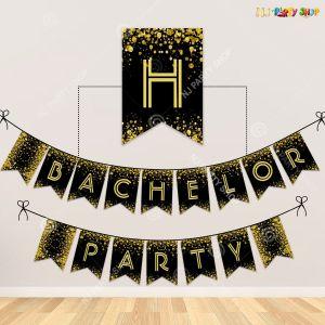 Bachelor Party Banner - Black & Golden