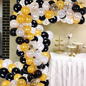 Balloon Arch Decoration Garland Kit - Black & Golden - Set Of 87