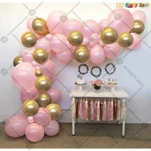 Balloon Arch Decoration Garland Kit - Pink & Golden - Set Of 62