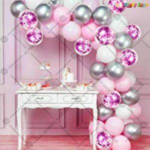 Balloon Arch Decoration Garland Kit - Pink & Silver - Set Of 62