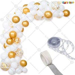 Balloon Arch Decoration Garland Kit - White & Gold - Set Of 67