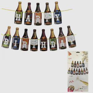 Beer Bottle Shape Happy Birthday Banner