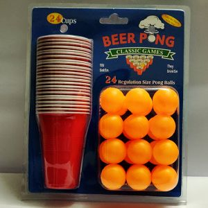 Beer Pong Drinking Game - Set of 24 Glasses and Balls