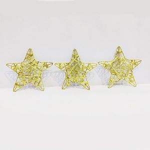 Big Golden Stars - Christmas Decoration Ornaments - Set of 3