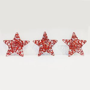 Big Red Stars - Christmas Decoration Ornaments - Set of 3