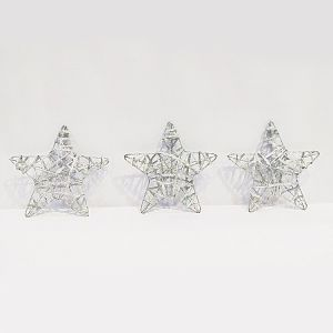 Big Silver Stars - Christmas Decoration Ornaments - Set of 3