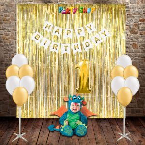 118A Model - Birthday Decoration Combo Kit - White & Golden
