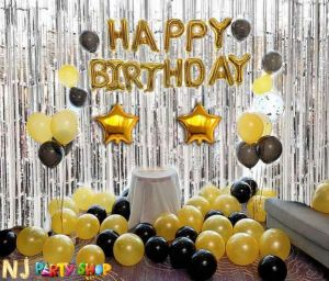 03D - Silver & Golden Birthday Decoration Combo - Set of 65 Pcs