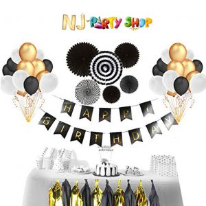 018A Model - Birthday Decoration Combo Kit -  Black & Golden