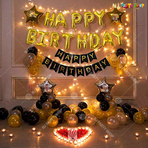 011M - Black & Golden With LED Lights Birthday Decoration Combo Kit - Set of 61