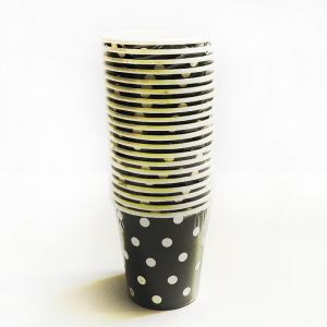 Black Polka Dot Paper Cups - Set of 20