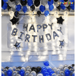 06M - Blue & Silver With LED Lights Birthday Decoration Combo Kit - Set of 63