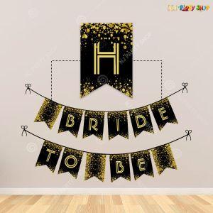 Bride To Be Banner - Black & Golden