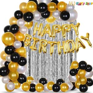 02F - Black & Golden Birthday Decoration Combo - Set of 60 Pcs