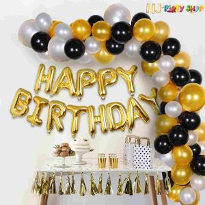 02E - Black & Golden Birthday Decoration Combo - Set of 51 Pcs