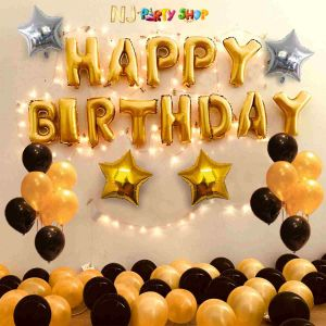 01G - Black & Golden Birthday Decoration Combo - Set of 60 Pcs