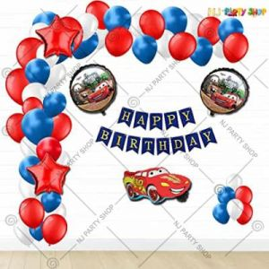 Car Theme Birthday Decoration Combo - Red & Blue - Set Of 48