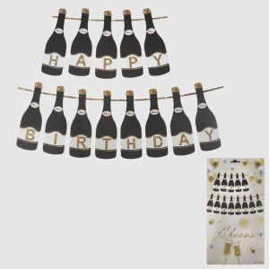 Champagne Shape Happy Birthday Banner