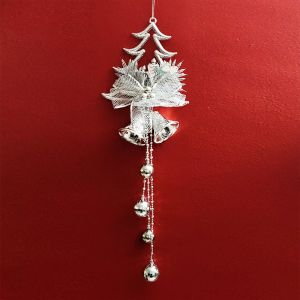 Christmas Tree with Angel/Bell Hanging - Red