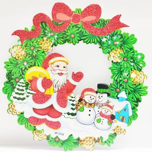 Christmas Wreath Sunboard Banner/Stickers - Green Color