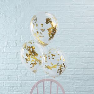 Confetti Balloons - Gold - Set of 5
