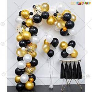 D1 - Balloon Arch Decoration Garland Kit - Black & Golden - Set Of 92