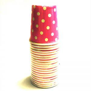 Dark Pink Polka Dot Paper Cups - Set of 20
