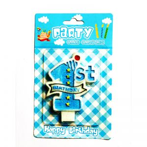 1st Birthday Boy Cake Candle