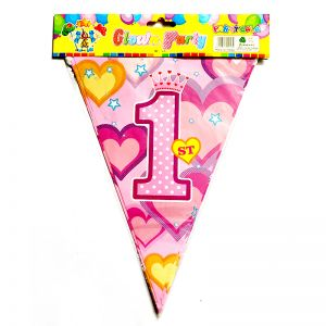 1st Birthday Girl Flag Banner Decoration