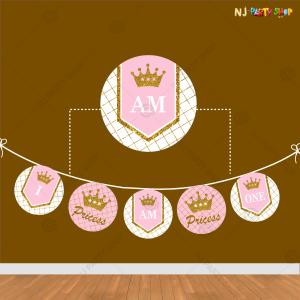 First Birthday Happy Birthday Pink Princess Banner