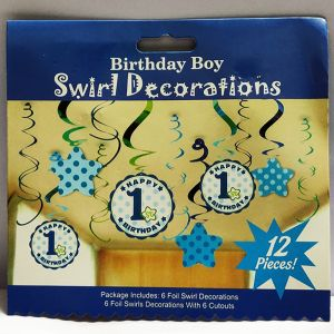 1st Boy Birthday Swirls - Set of 12
