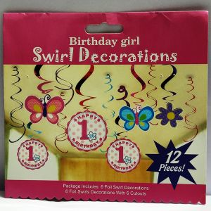1st Girl Birthday Swirls - Set of 12