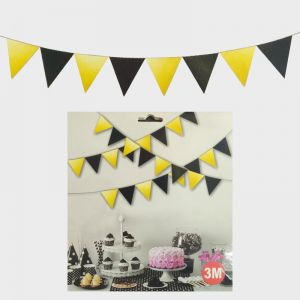 Flag Bunting Banner Decoration - Black & Golden