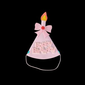 Foam Candle Shape Happy Birthday Cap - Pink