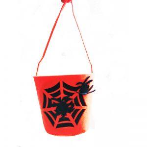 Foam Pumpkin with Black Sipder Bucket for Halloween