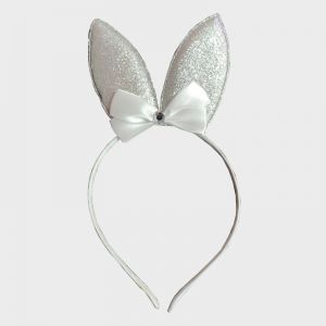 Glitter Bunny Hair Band - Silver