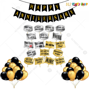 04L -  Golden & Black Happy Anniversary Decoration Combo Kit With Props - Set of 64