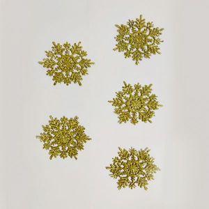 Golden Glitter Snow Flakes Christmas Tree Decoration Ornaments