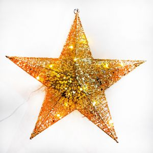 Golden Hanging Star with Lights Decoration