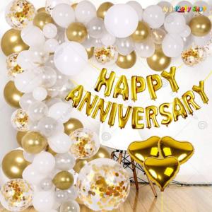 03L - Golden Happy Anniversary Decoration Combo Kit - Set of 59